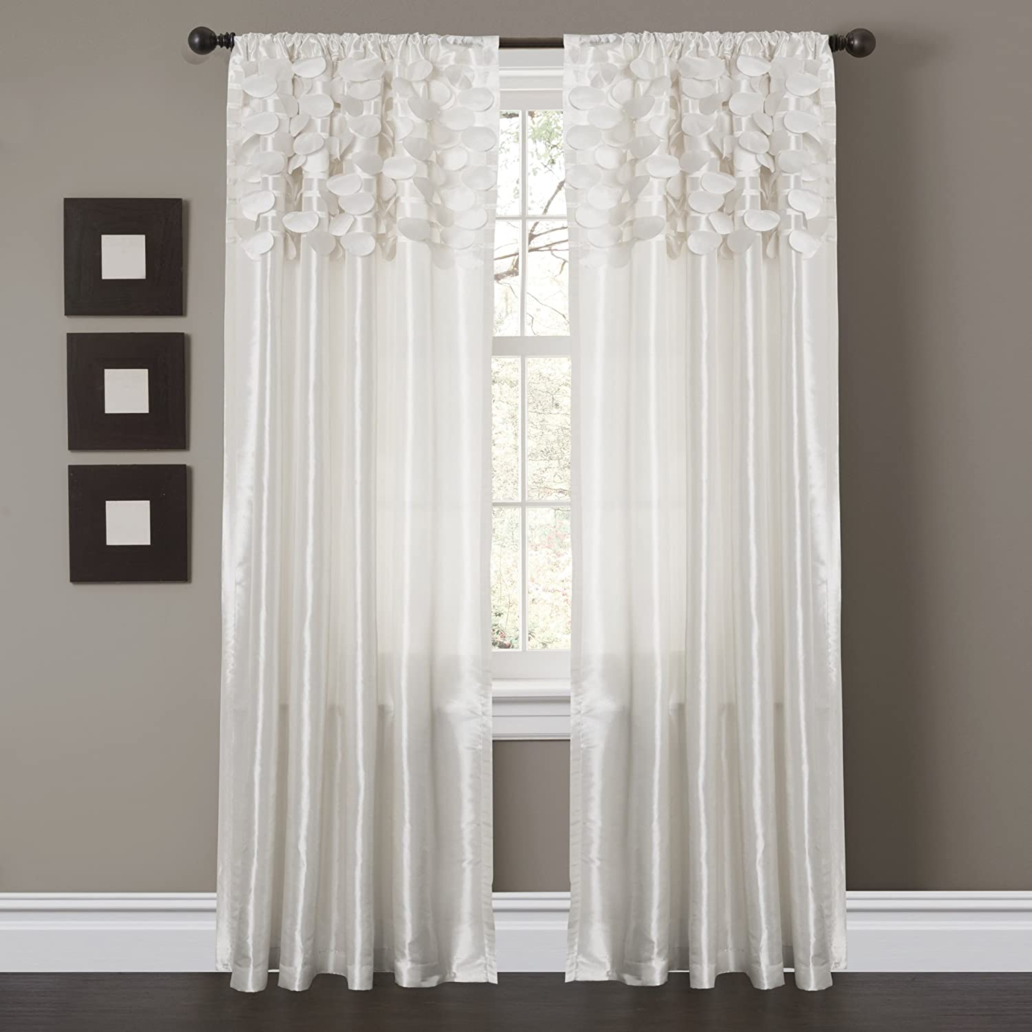 Amazon Lush Decor Circle Dream Window Curtain Panels White Set Of 2 Home Kitchen