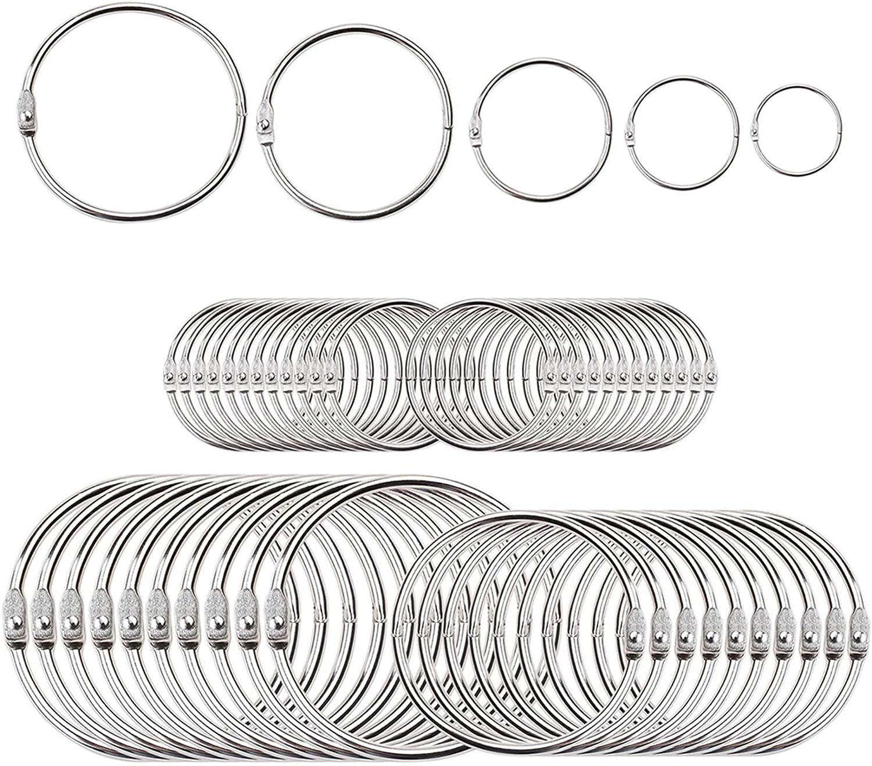 60-Pack Loose Leaf Binder Rings Assorted Sizes(Inner Diameter 0.8, 1, 1.25, 1.5, 2 inch) Book Rings, Premium Metal Keychain Rings for School,Office,Home by Jetmore