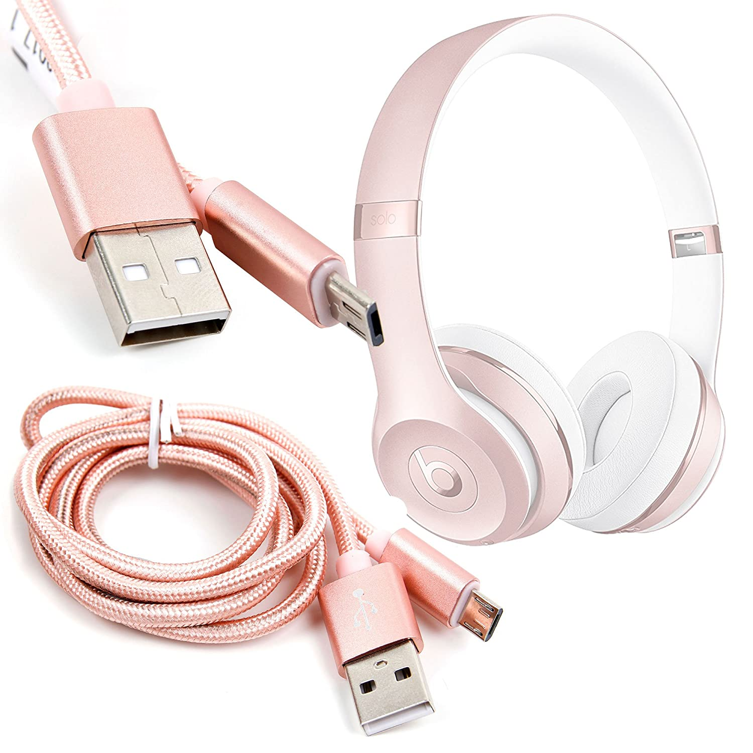 8a02ef5af7a DURAGADGET Rose Gold Micro USB Data Sync Cable - Compatible with The Beats  Headphones: Solo 3 Wireless, Studio Wireless, Studio 3 Wireless, Powerbeats2  ...