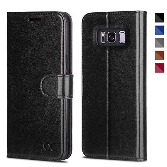 wholesale dealer 918e0 29b52 OCASE Samsung Galaxy S8 Case Leather Flip Wallet Case for Samsung Galaxy S8  Devices - Black