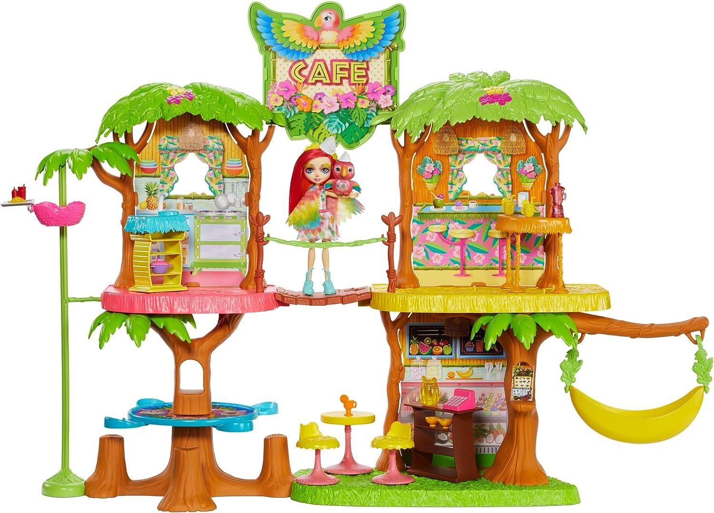 Enchantimals - Cafetería Junglewood con muñeca y mascota Peeki Parrot y accesorios, edad recomendada: 4 años y más (Mattel GNC57)