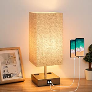 Yueximei Touch Control Table Lamp,3 Way Dimmable Touch Lamps with 2 Fast USB Charging Ports and 2 Ac Outlets,Modern Nightstand Lamp, Ideal for Bedroom Living Room,LED Bulb Included