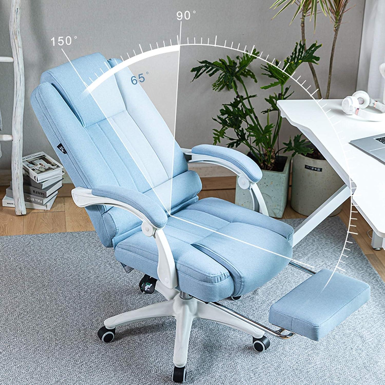 YYL kontorsstol ergonomisk kontorsstol med fotstöd, bekväm justerbar svängbar dator skrivbordsstol, bomull och linne tyg svängbar stol (färg: Blå) BEIgE