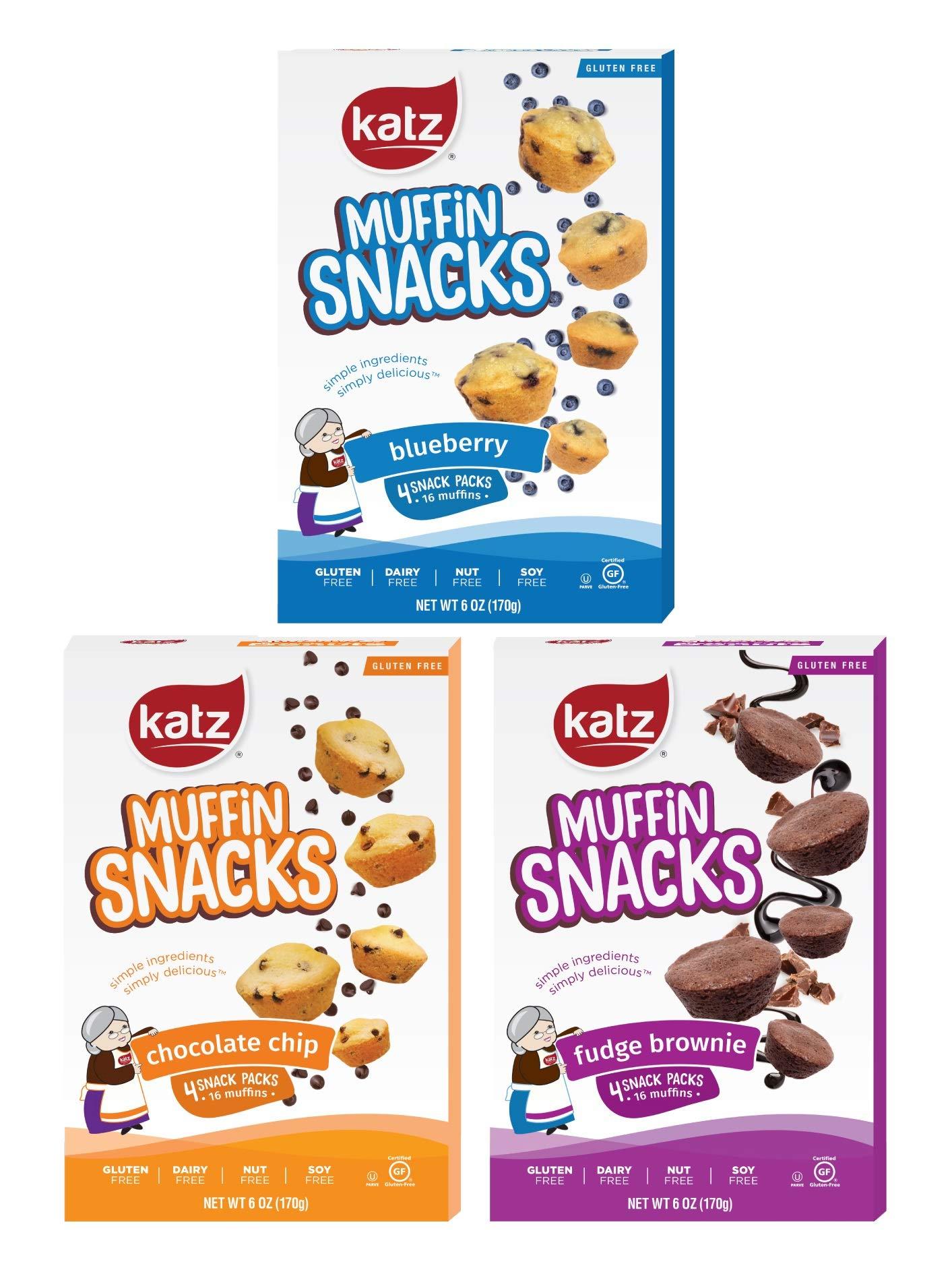 Katz Gluten Free Muffin Snack Variety Pack | Dairy Free, Nut Free, Soy Free, Gluten Free | Kosher (3 Packs of 4 Muffins, 11 Ounce Each) by Katz Gluten Free