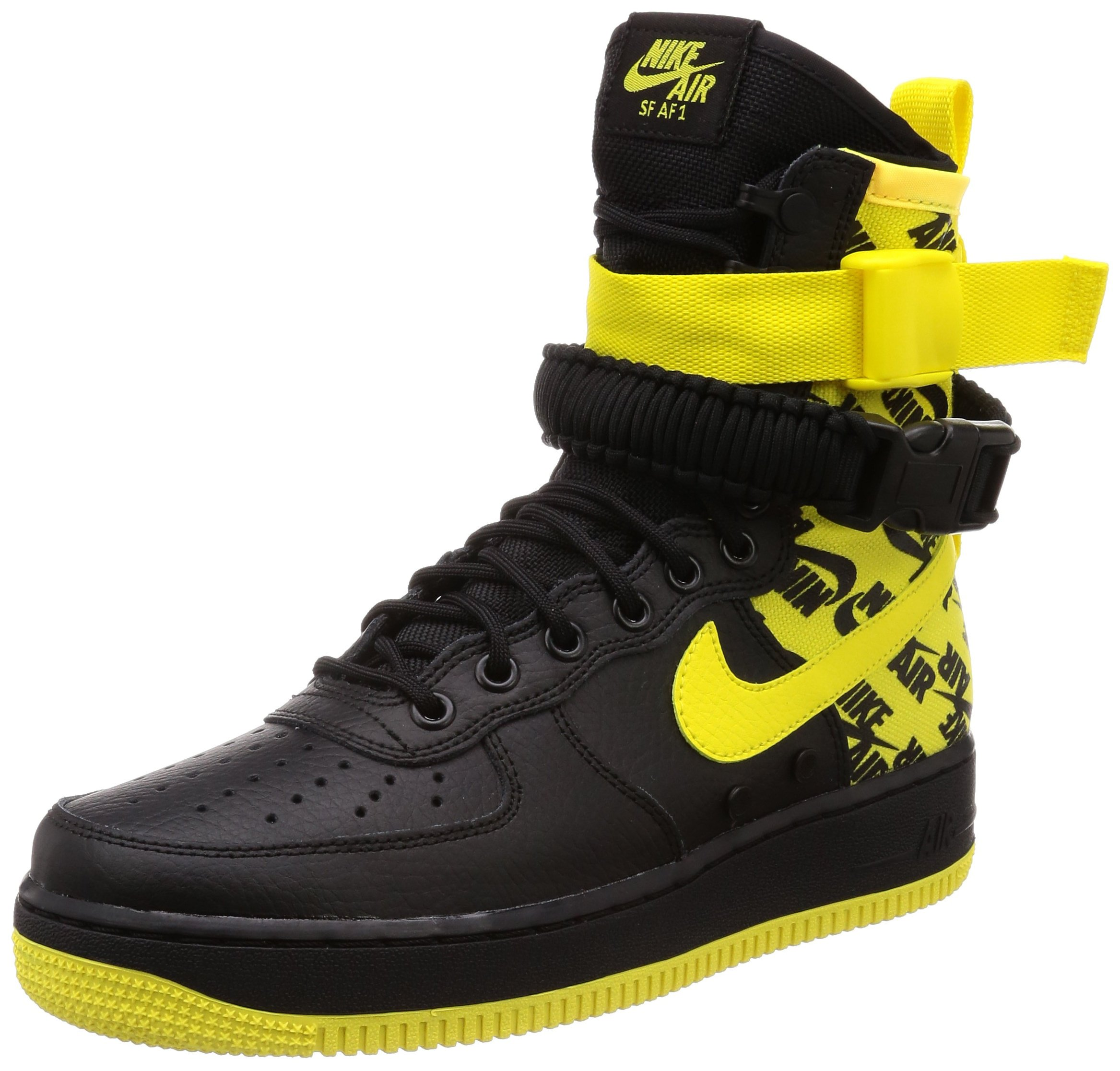 on sale e5dbc 11eb4 Galleon - Nike Men s SF AIR Force 1 Shoe Black Dynamic Yellow (8 D(M) US)