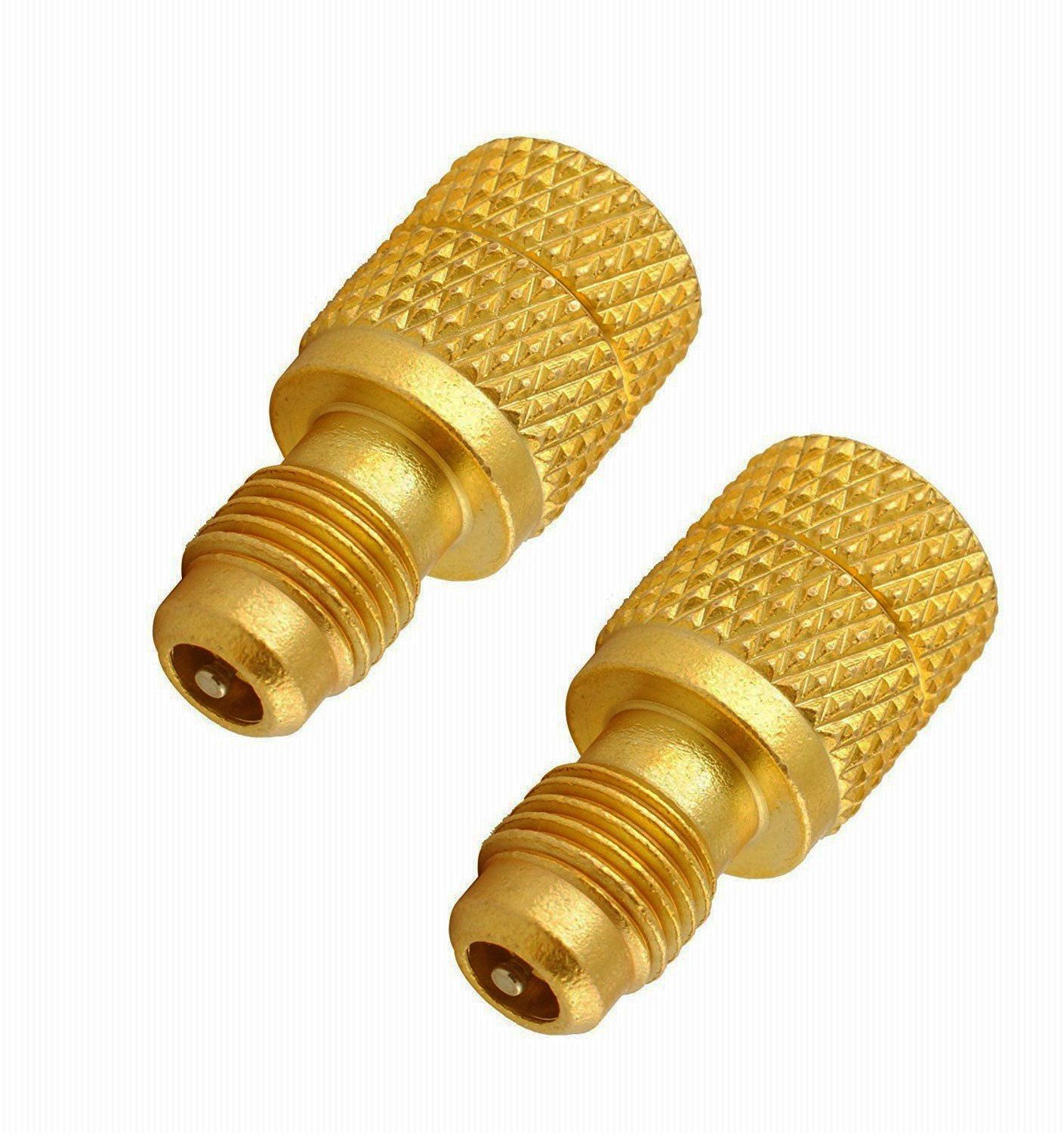 GooMeng4S Acme AC R134a Brass Adapter Freon Fitting 1/4'' Male to 1/2'' Female w/Valve Core,Refrigerant R134a Air Conditioning Adapter (2PCS)