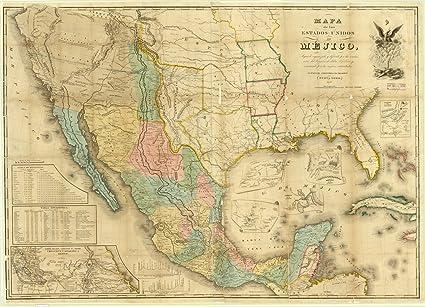 Mejico O Mexico Mapa.Amazon Com Historic Map Mexico 1848 Mapa De Los Estados