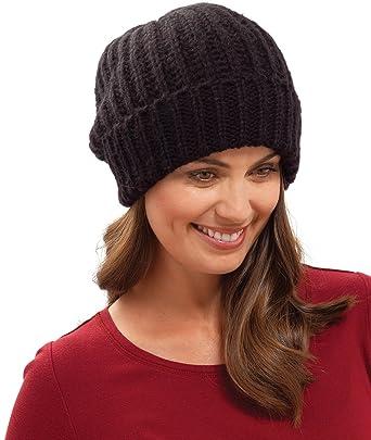 Rjm Ladies Black Knitted Beanie Hat  Amazon.co.uk  Clothing b52229e694a
