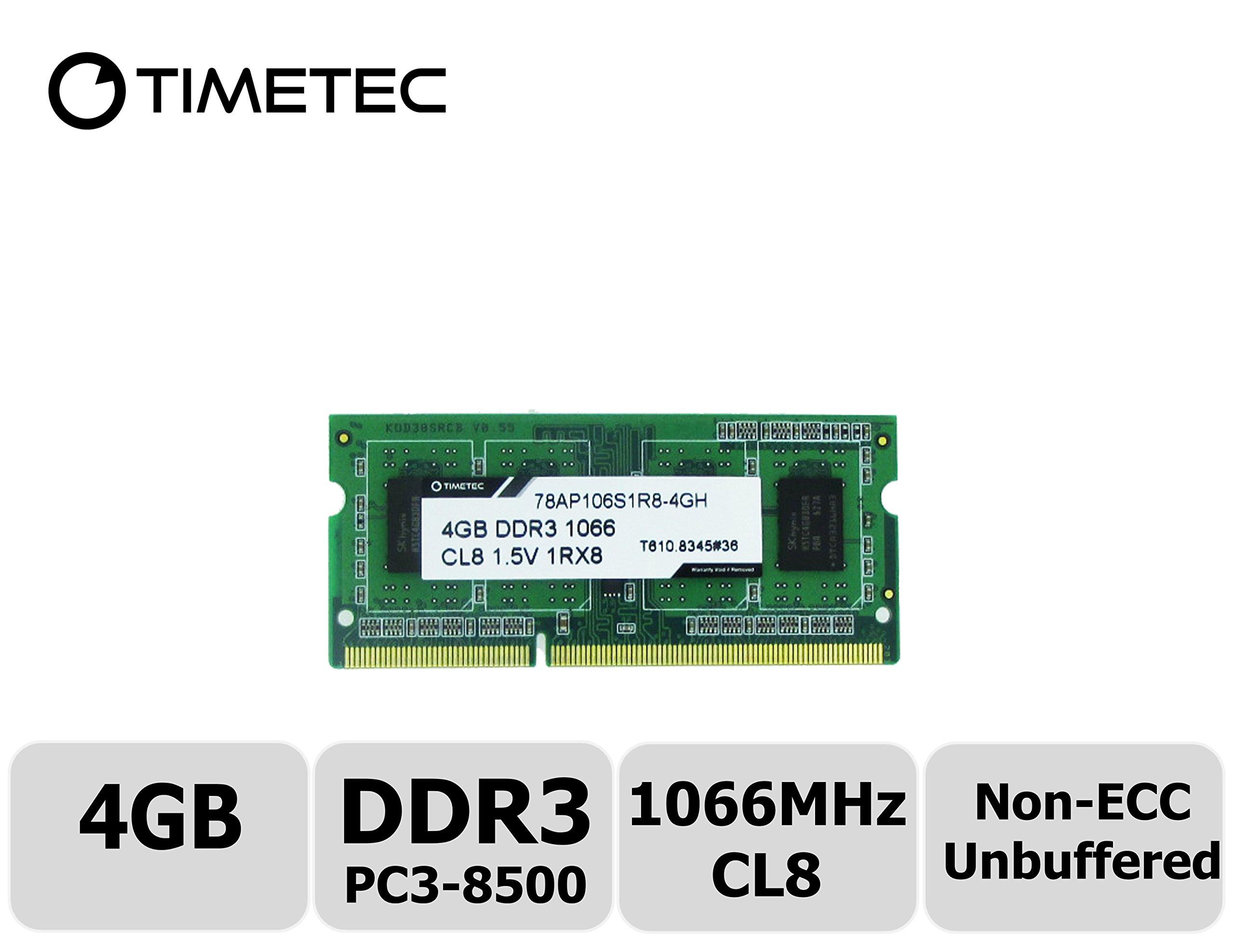 Timetec Hynix IC 4GB DDR3 1066MHz PC3-8500 Unbuffered Non-ECC 1.5V CL7 1Rx8 Single Rank 204 Pin SODIMM Laptop Notebook Computer Memory Ram Module Upgrade (High Density 4GB)
