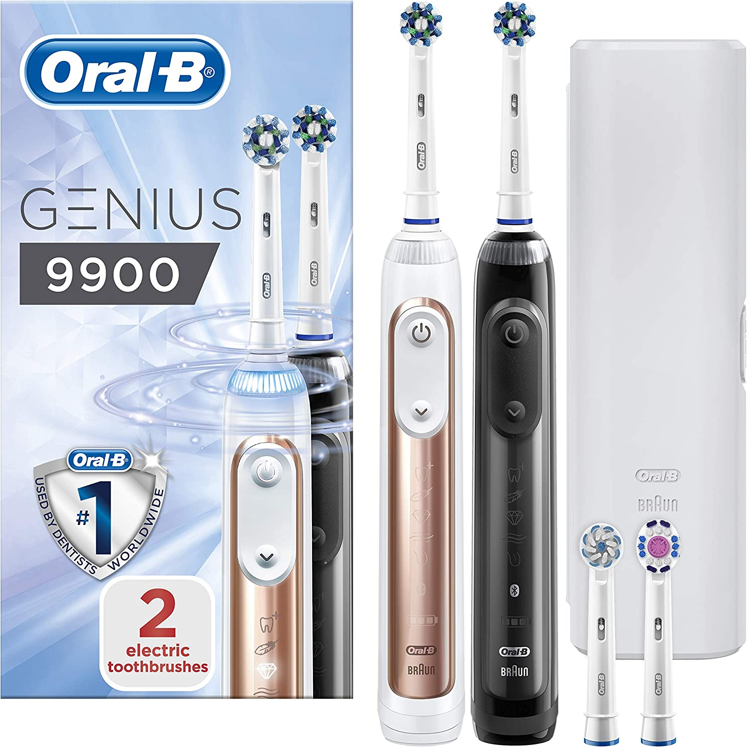 Oral B Genius 9900 Set of 2 Electric Toothbrushes Rechargeable, 2 Handles, Rose Gold and Black, 6 Modes with Whitening and Sensitive, Pressure Sensor,