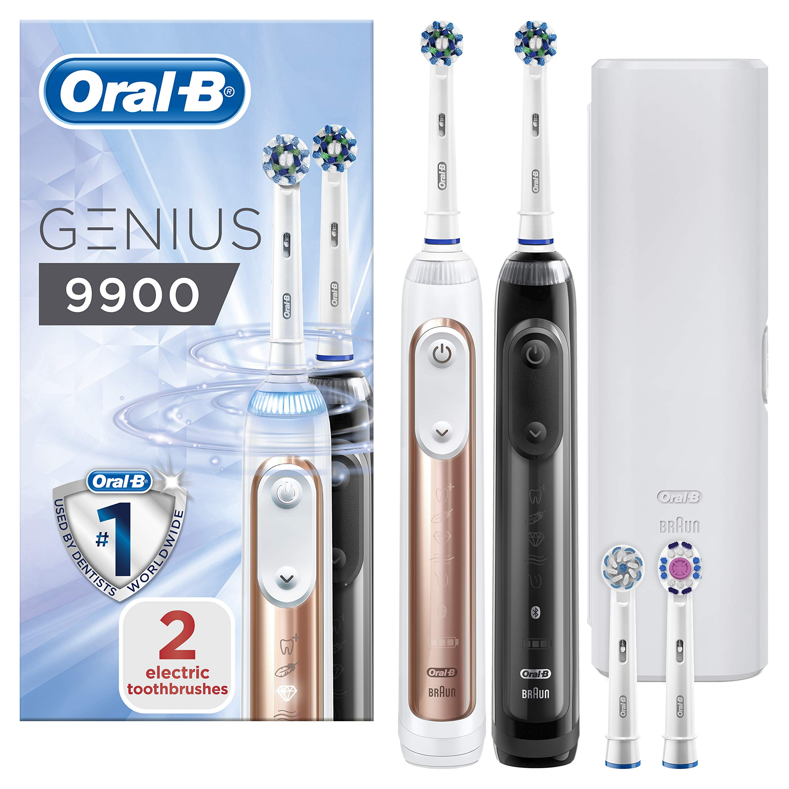 Oral-B Genius 9900 Set of 2 Electric Toothbrushes Rechargeable, 2 Handles Rose Gold and Black, 6 Modes, Pressure Sensor, 4 Toothbrush Heads, Travel Case, 2 Pin UK Plug, Gift for Men/Women
