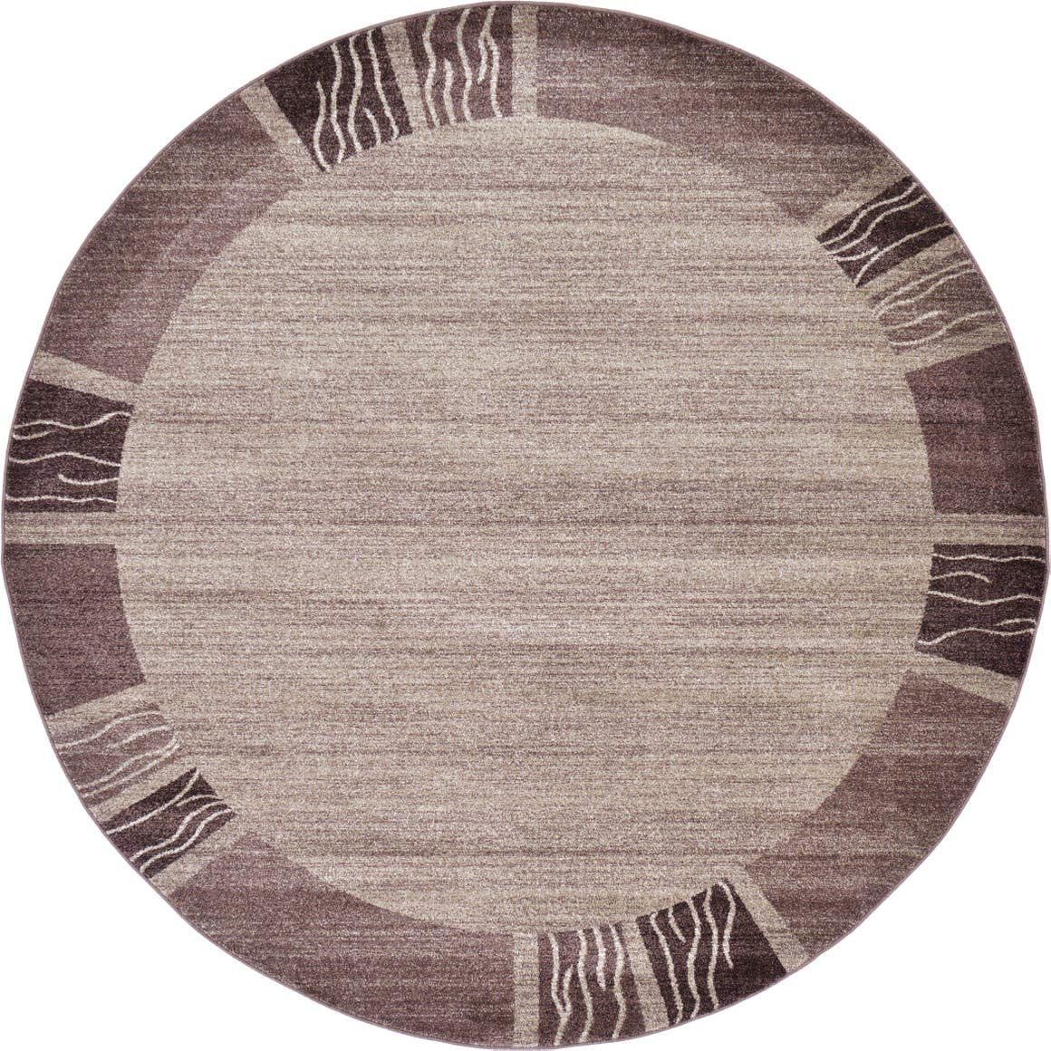 Unique Loom Del Mar Collection Contemporary Transitional Light Brown Round Rug 8 0 x 8 0