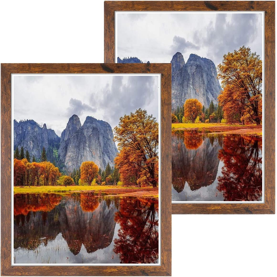 DBWIN 16x20 Picture Frame Rustic Brown Wood Pattern Poster Frame Plexiglass Front 2 Pack for Art Prints Puzzles Murals Wall Decor Vertically or Horizontally(LY01-16X20-BR2)