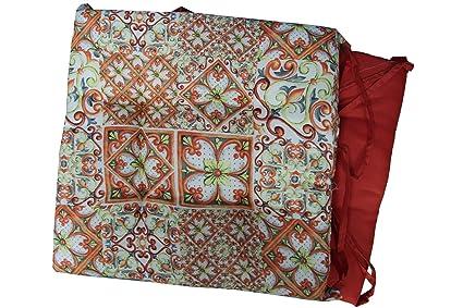 russo tessuti 6 cuscini sedie cucina coprisedia imbottiti fantasia floreale con laccetti laccetti2 arancione