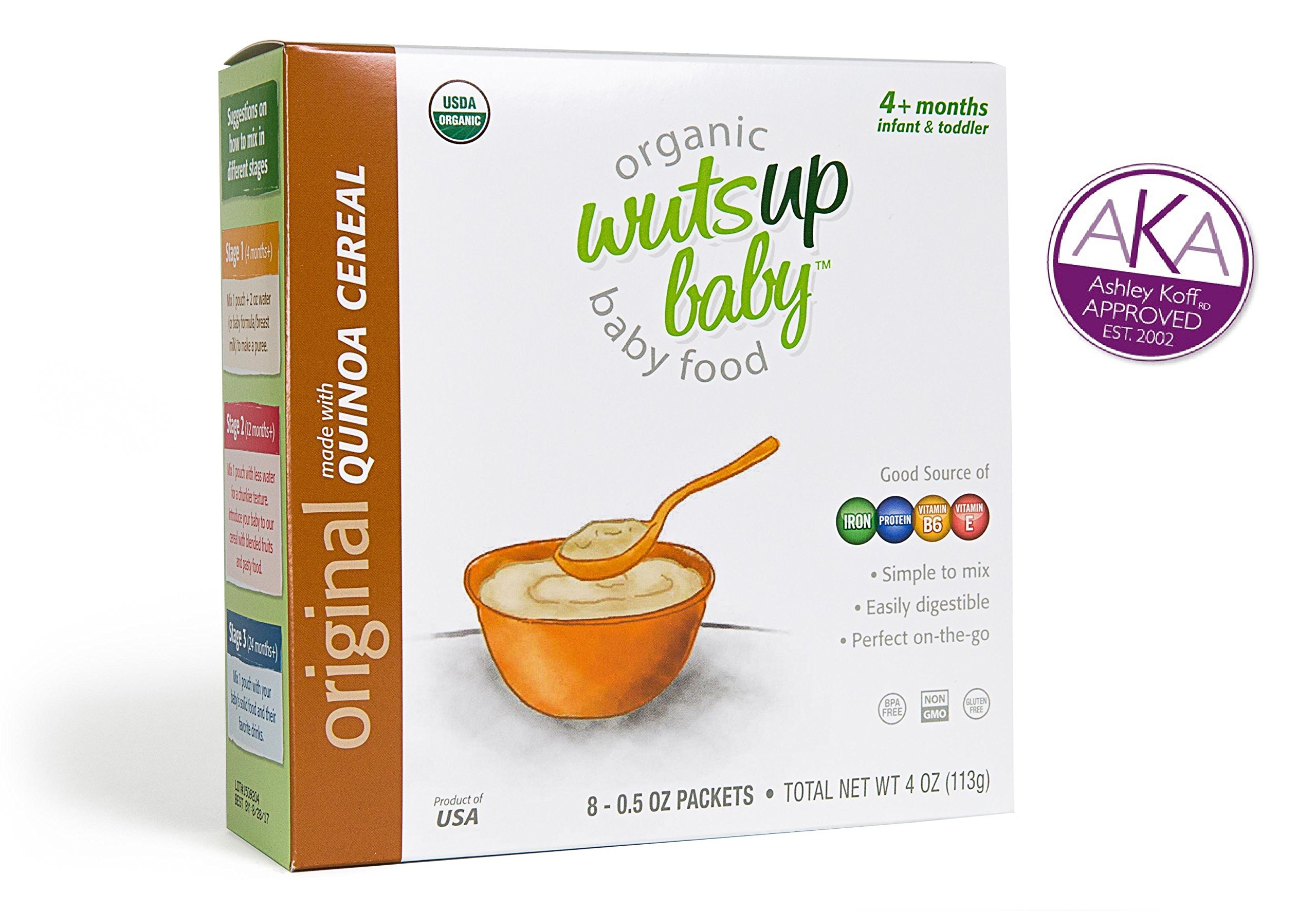 8x Organic Original Quinoa Infant & Baby Cereal Travel Packs w/ Naturally Occurring Omega 3, 6, 9 Protein, Iron, Magnesium, B2. Easiest First Foods to Digest. By WutsupBaby – 4oz (8 pack x 0.5oz)
