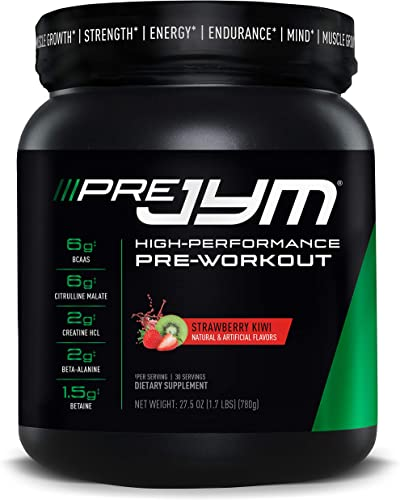 Pre JYM Pre Workout Powder – BCAAs, Creatine HCI, Citrulline Malate, Beta-Alanine, Betaine, and More JYM Supplement Science Strawberry Kiwi Flavor, 30 Servings