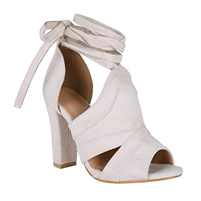 60ffbe1435 Amazon.com   Syktkmx Womens Strappy Lace Up Pumps Peep Toe Ankle Wrap High  Chunky Block Heel Sandals   Heeled Sandals