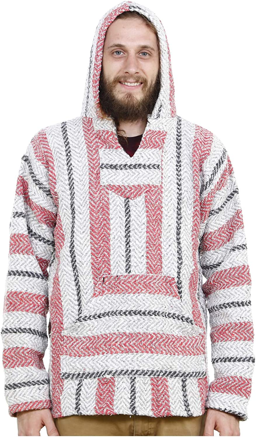 Baja Joe Eco-Friendly Woven Striped Pullover Baja Hoodie