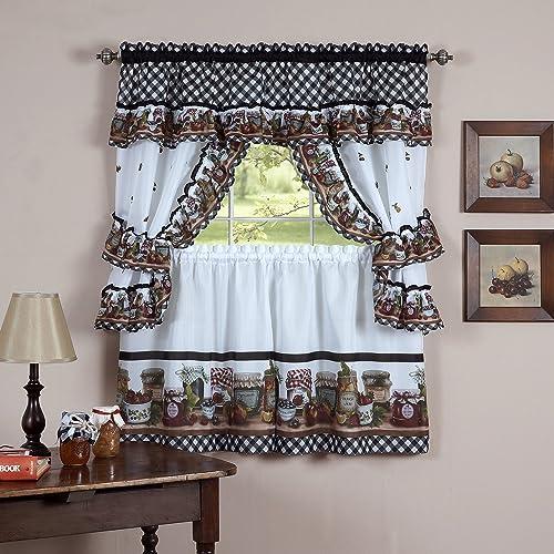 Sweet Home Collection Ruffled Valance 4 Piece Kitchen Curtain Set, 36 , Mason Jar