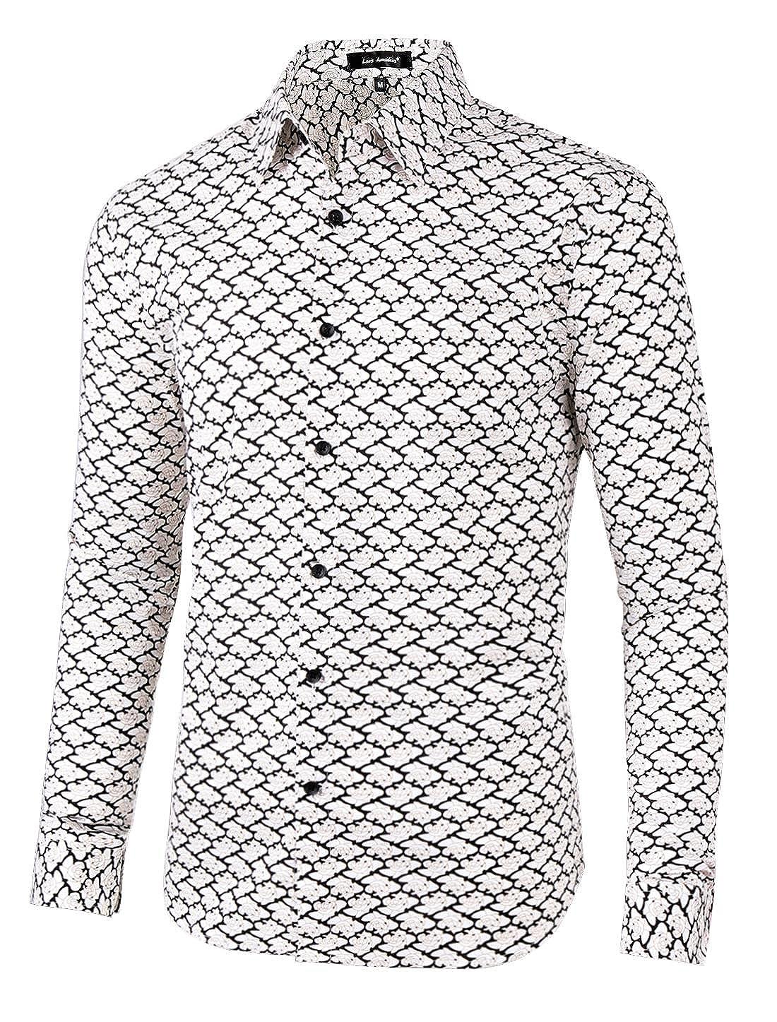 90854978fe6ba0 Lars Amadeus Men Floral Button Down Slim Fit Long Sleeve Plaid Prints Dress  Shirts at Amazon Men's Clothing store: