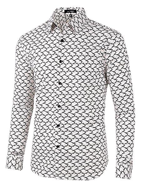 b7186ec8592dfc Lars Amadeus Men Floral Button Down Slim Fit Long Sleeve Plaid Prints Dress Shirts  S Black