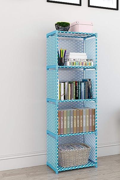 Memeho Bookshelf Storage Shelve For Books Storage Organizer Children Book Rack Bookcase For Home Furniture Cabinet Shelves For Bedroom Office Living Room 4 Cases Blue Amazon In Furniture