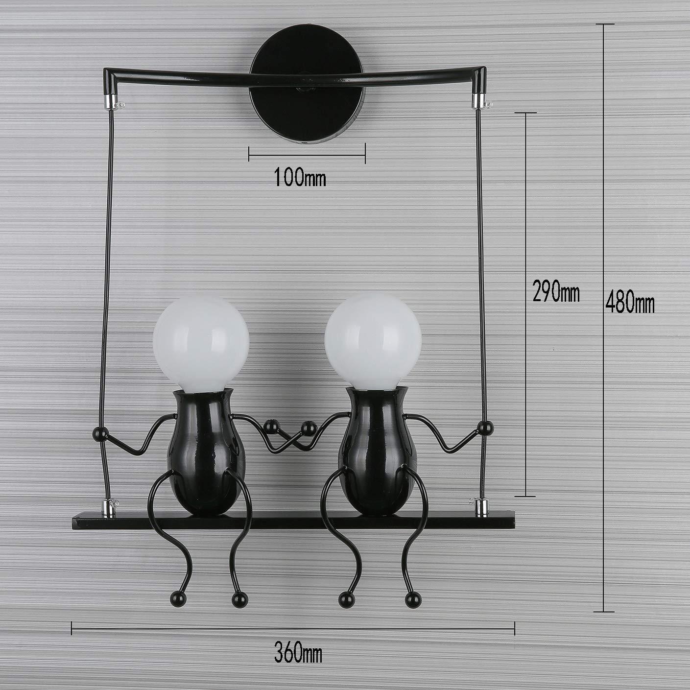 Wandleuchte Metall Wandlampe E27 E27 E27 Effektlampe Flurlampe Treppenleuchte Nachttischlampe Cartoon Lampe für Kinderzimmer Wohnzimmer Schlafzimmer Studiezimmer FlurHotels (Schwarz-2) 4e9a2a