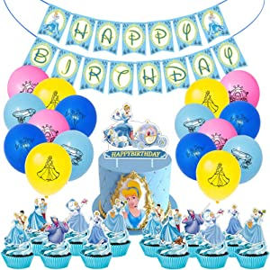 Cinder_ella Party Decorations 42PCS Princess Supplies Birthday Favors 16PCS Colorful Balloons, 1 Long Banner, 24PCS Various Cake Toppers, 1 Big Cake Topper for Dorm Bedroom Living Room