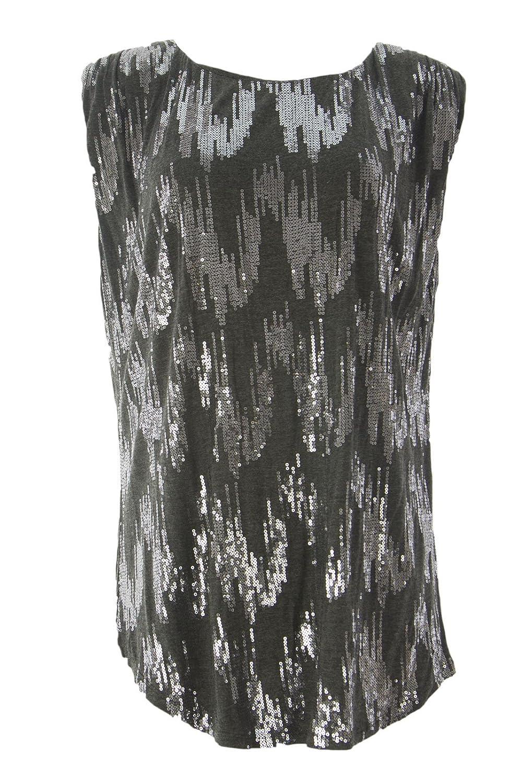 VELVET by Graham & Spencer Women's Padded Shoulder Sequin Top X-Large Graphite