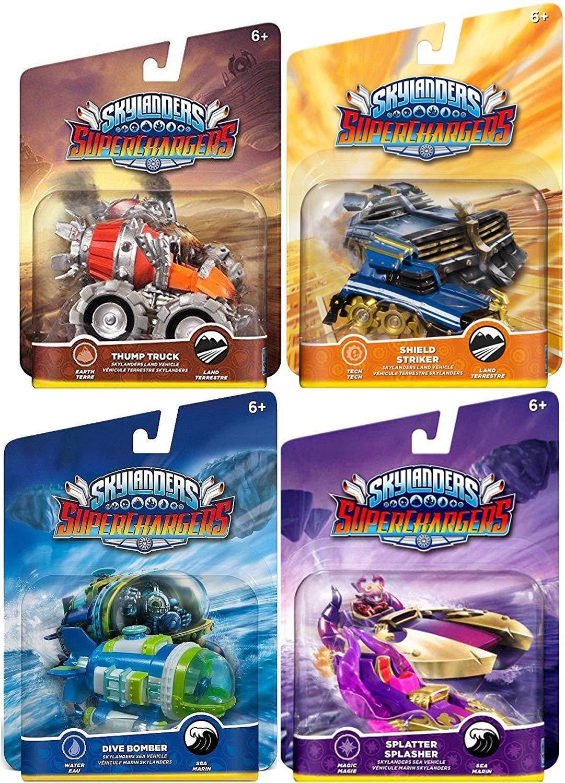 Overdrive Team Character Cars Super Chargers Dive Bomber / Thump Truck / Splatter Splasher / Shield Striker Game Vehicles Sky Landers Land & Sea 4-Pack Bundle