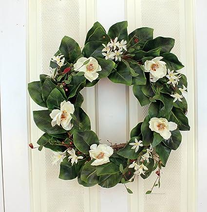 Amazon magnolia wreath silk flower wreath home kitchen magnolia wreath silk flower wreath mightylinksfo