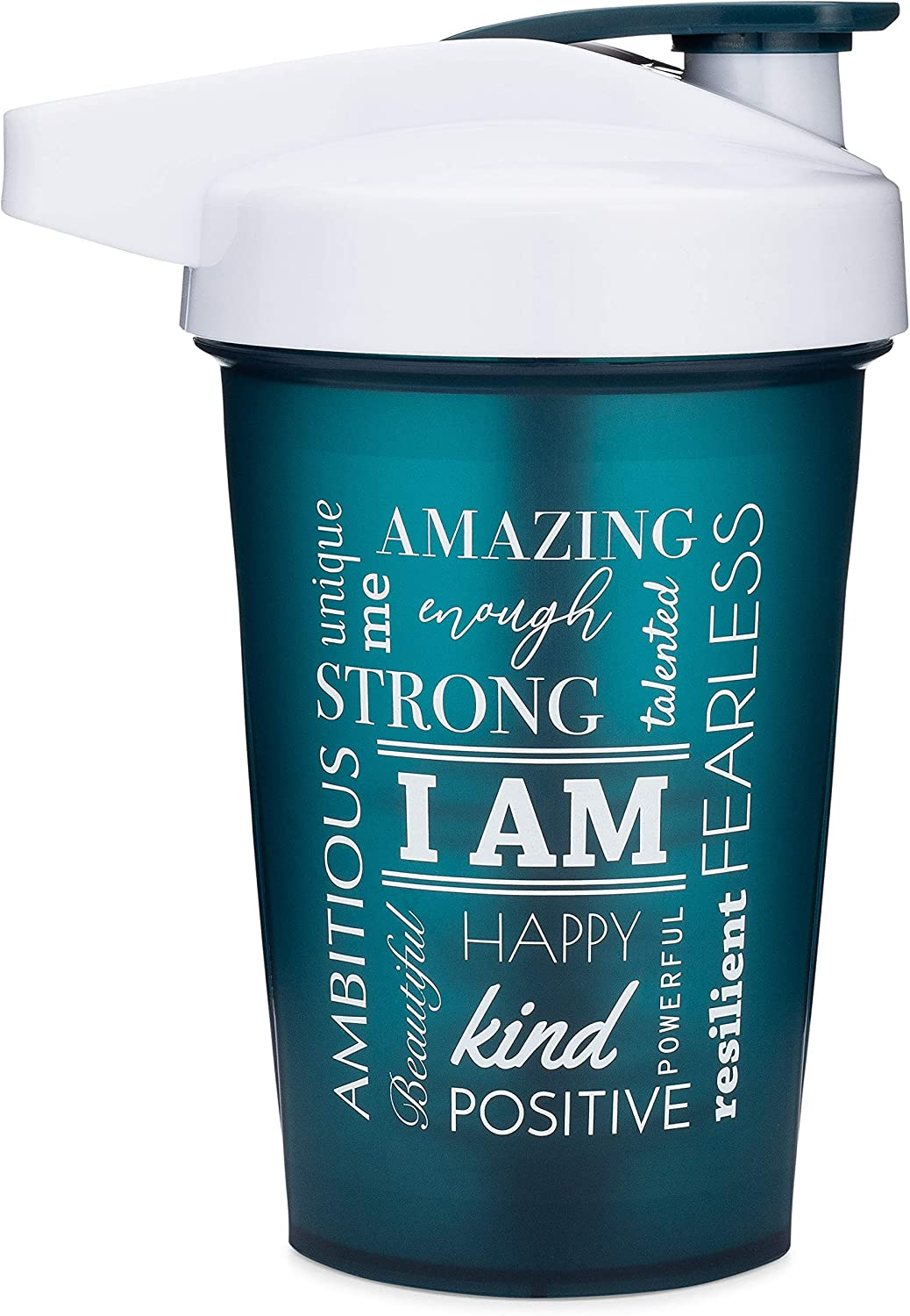 Motivational Quotes on Performa Activ Shaker Bottle, 20 Ounce Classic Protein Shaker Bottle with Loop, Leak Proof, Perfect Gym Fitness Gift (I Am - Teal)