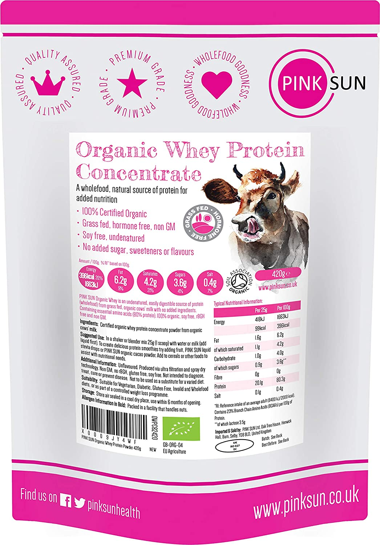 PINK SUN Concentrado de Proteína de Suero Orgánico 420g Bio Hierba alimentada sin Hormonas Neutro sin Sabor sin Gluten sin Soja Organic Whey Protein ...