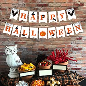 Happy Halloween Decorations, Hanging Halloween Banners and Signs, Halloween Wall Decorations, Perfect for Home or Office Party Decor