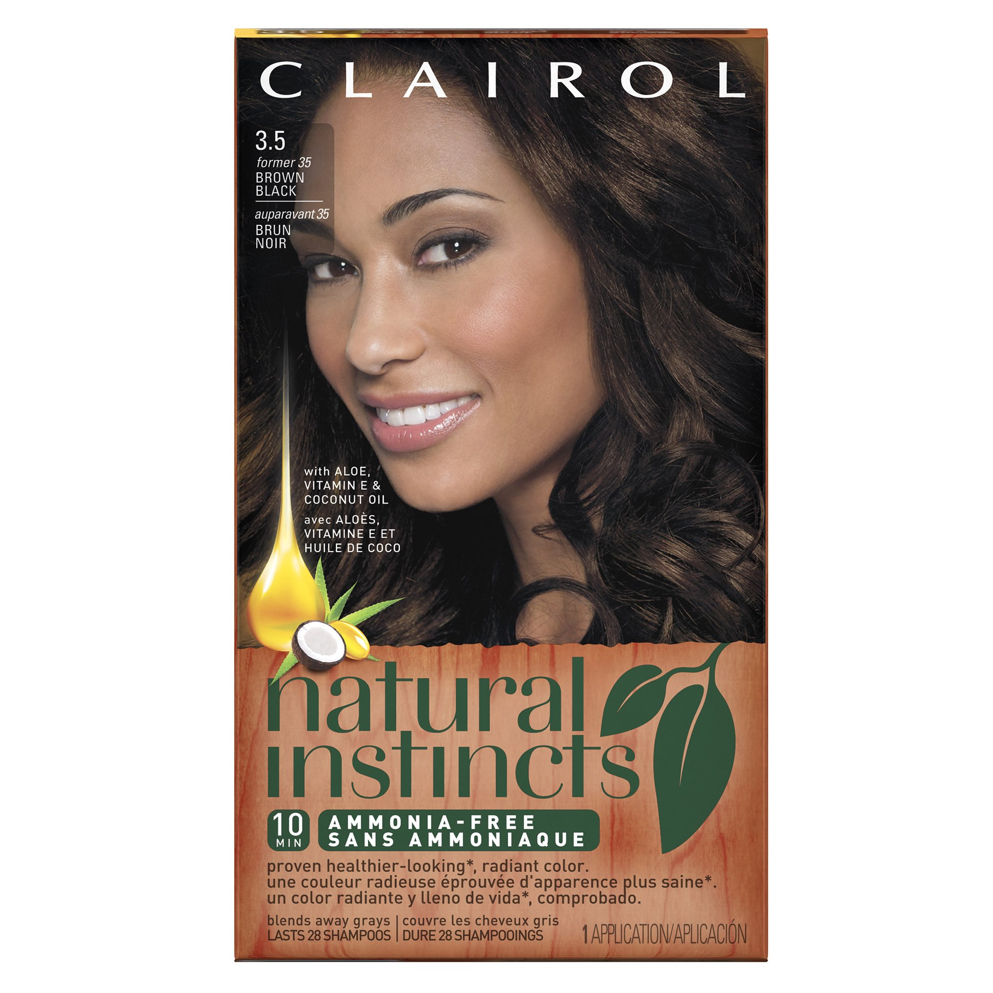 Clairol Natural Instincts, 3.5 / 35 Ebony Mocha Brown Black, Semi-Permanent  Hair