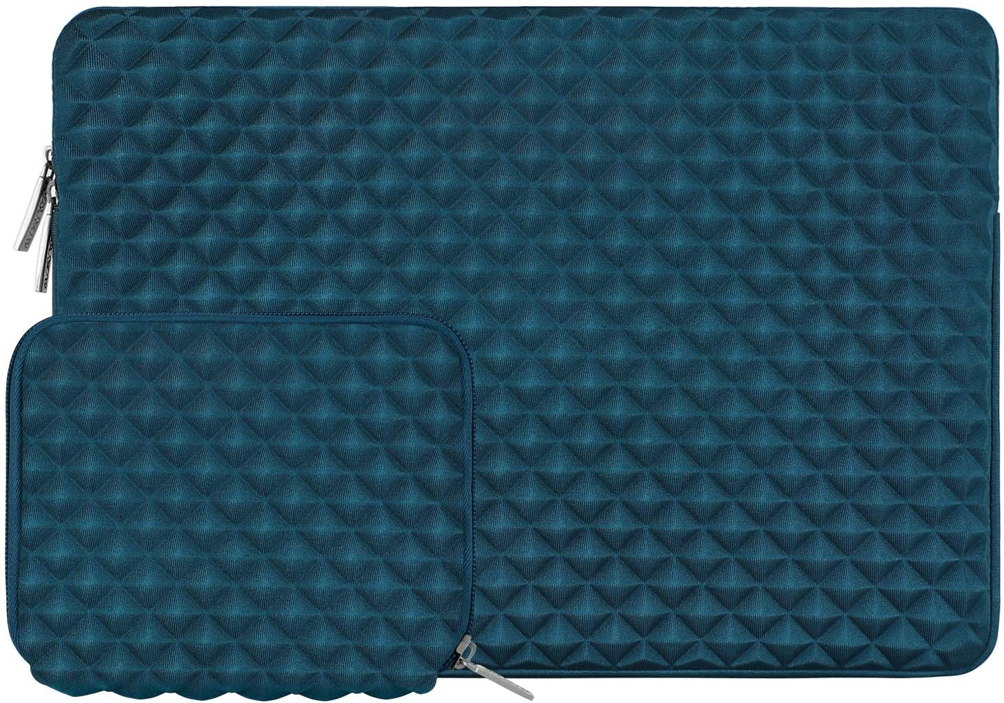 MOSISO Laptop Sleeve Compatible with 13-13.3 inch MacBook Pro, MacBook Air, Notebook Computer, Diamond Foam Neoprene Bag Cover with Small Case, Deep Teal