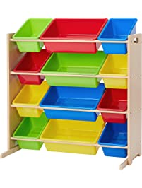 Phoenix Home Lodi Kid's Toy Storage Organizer with 12 Colorful Plastic Bins