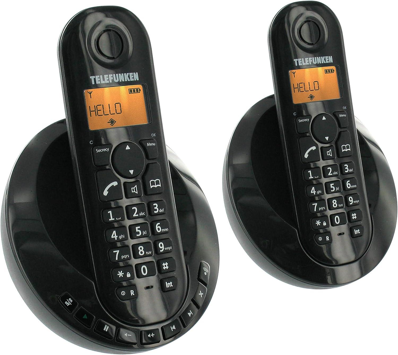 Telefunken TB 252 Peps Duo - 2 teléfonos fijos inalámbricos DECT/GAP con contestador, color negro (importado): Amazon.es: Electrónica