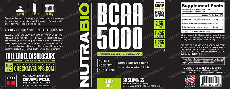 NutraBio BCAA 5000 Powder – 60 Servings Lemon Lime