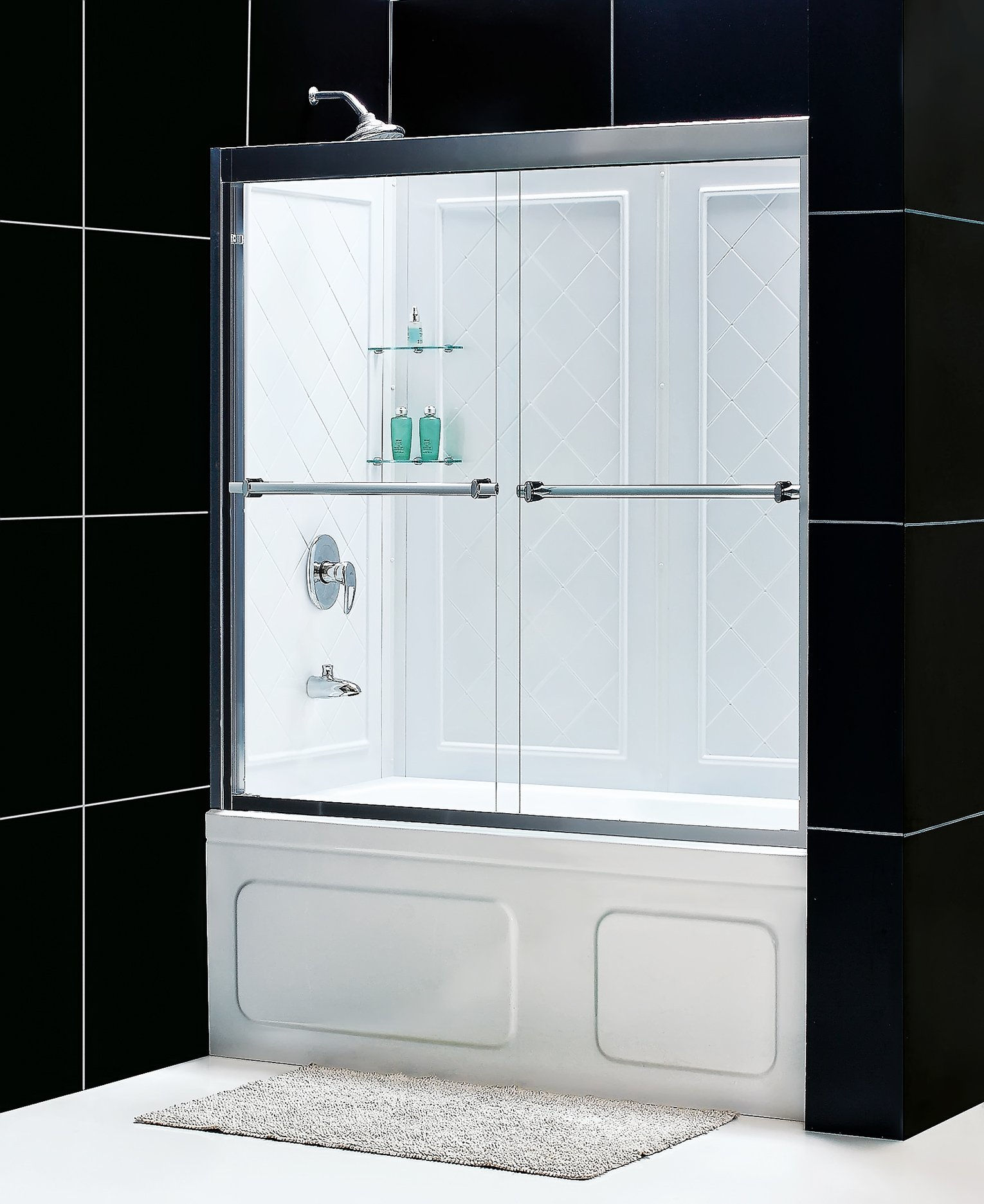 DreamLine Duet 28-32 in. D x 56-59 in. W Kit, with Bypass Sliding Tub Door in Brushed Nickel and White Acrylic Backwalls