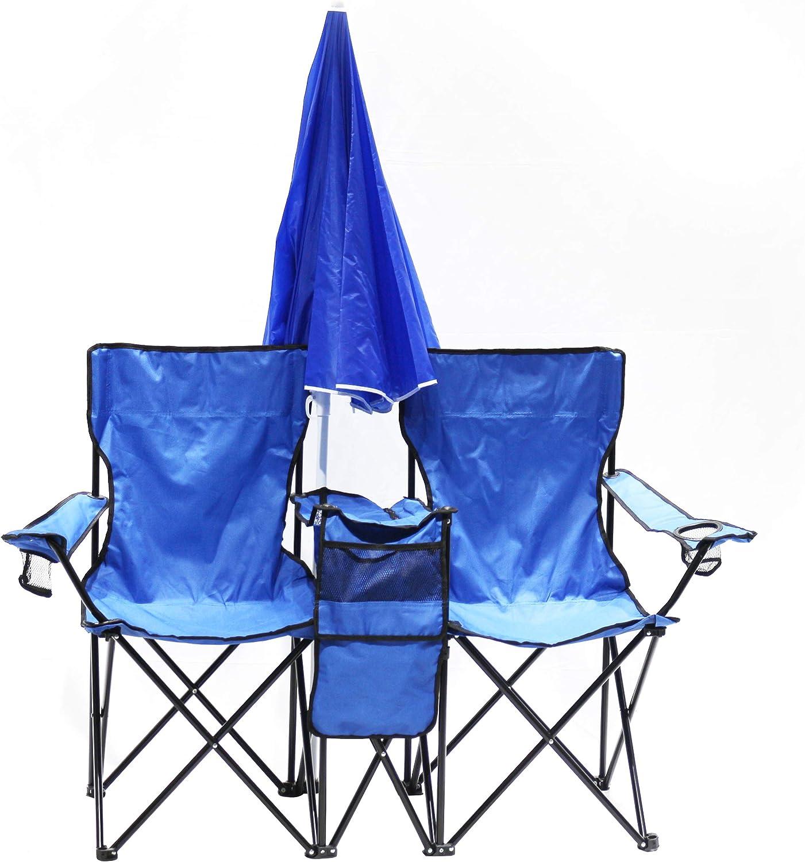 Homecall azul Silla de camping plegable doble con bolsillo-nevera y sombrilla