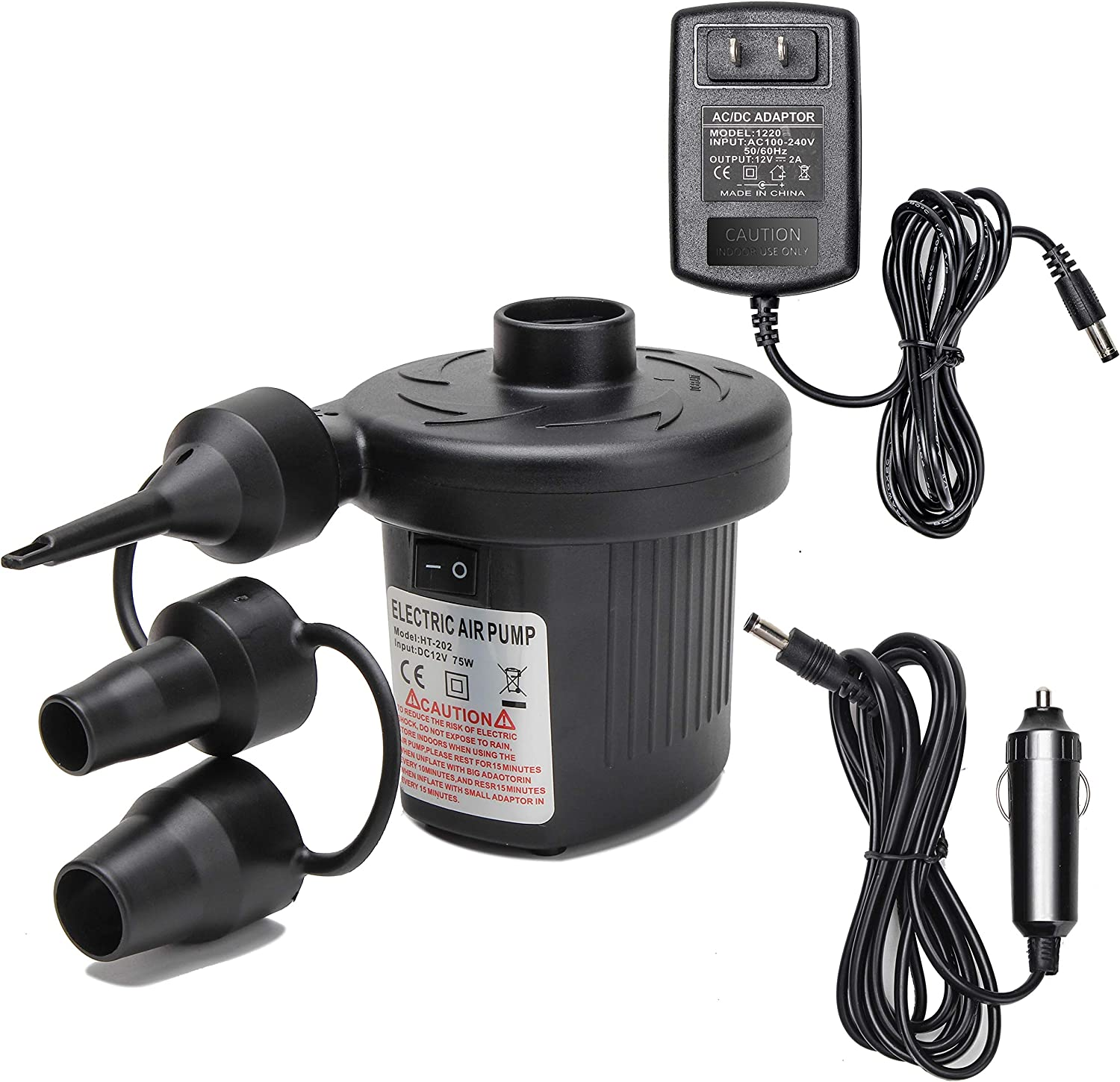 Electric Air Pump,Moonet Portable Quick-Fill Air Pump with 3 Nozzles, 110V AC/12V DC Deflates and Inflates for Swimming Ring, Inflatable Furniture, Air Beds, Air Boats, Outdoor Camping