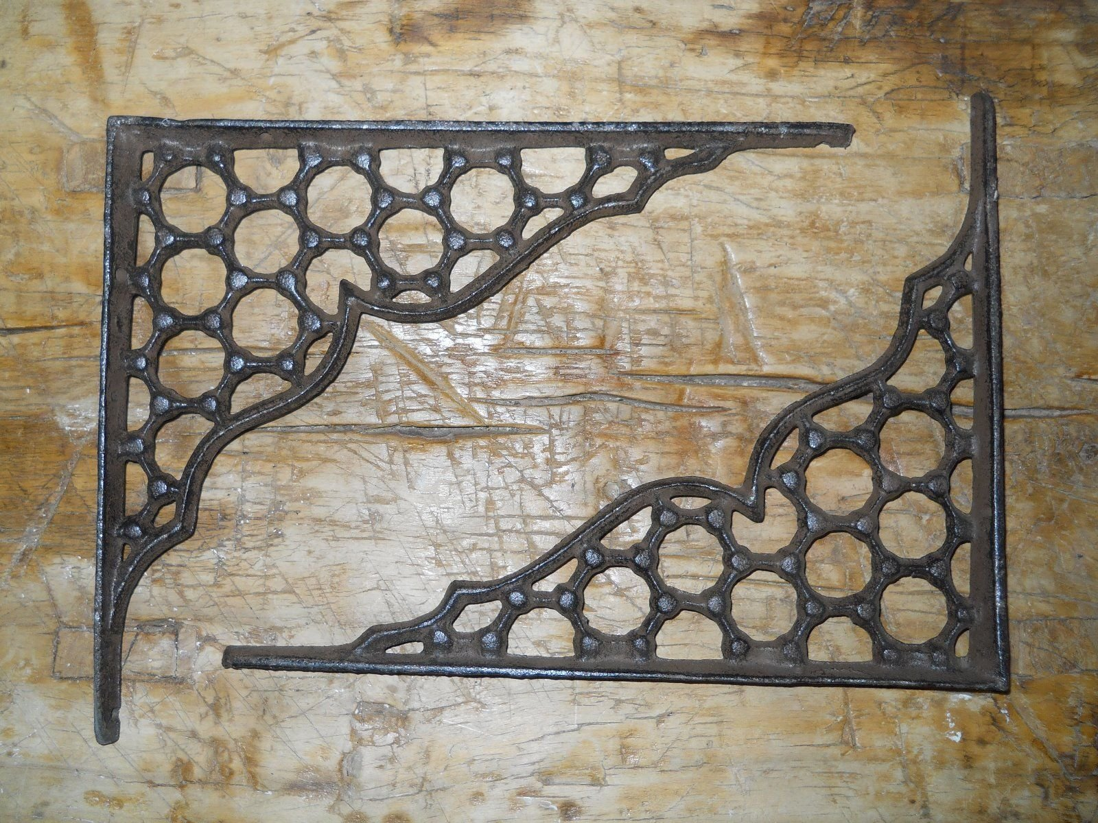 New 12 Cast Iron by YourLuckyDecor Antique Style LARGE RING Brackets, Garden Braces Shelf Bracket by New