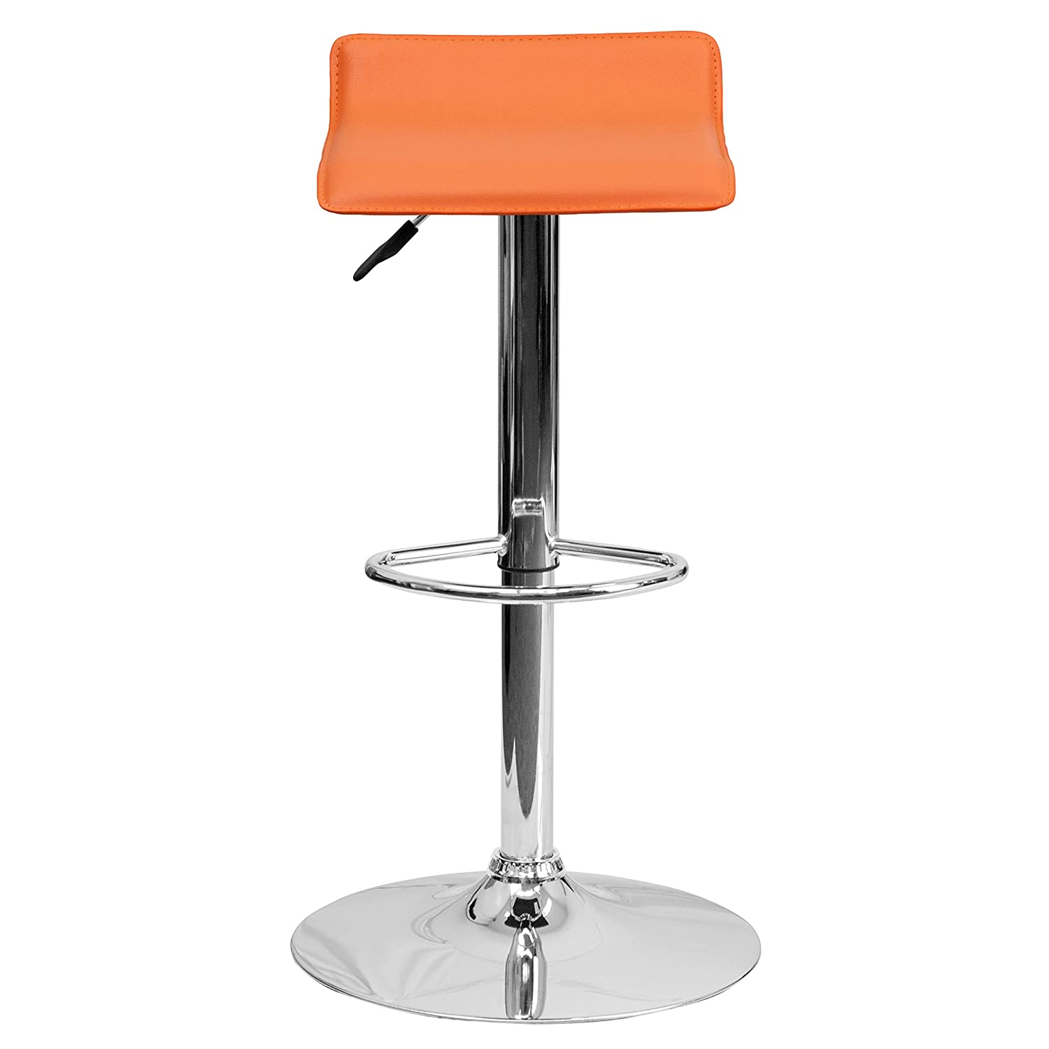 amazoncom flash furniture contemporary orange vinyl adjustable  - amazoncom flash furniture contemporary orange vinyl adjustable heightbarstool with chrome base kitchen  dining