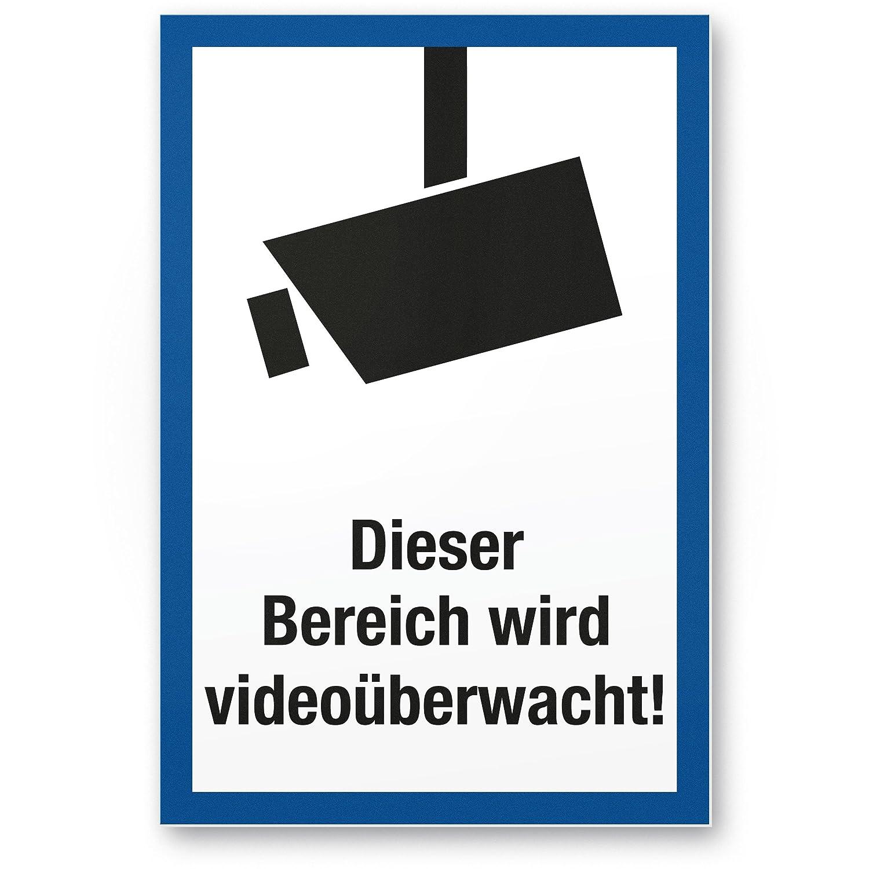 Este Rango se videoüberwacht Helvetica Condensed Marco Azul (Formato Vertical pictograma)