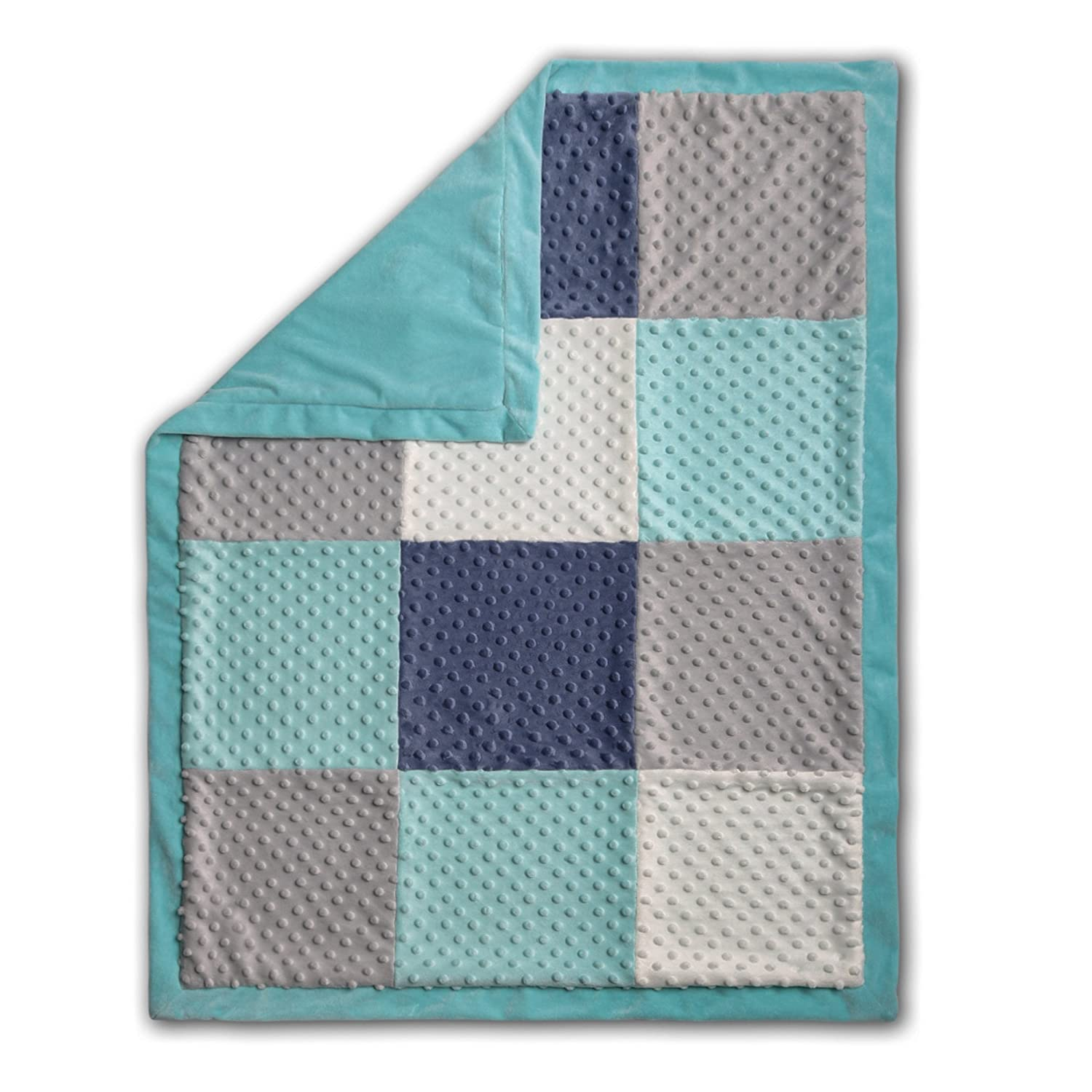 Mosaic Minky Dot Patchwork Baby Blanket by The Peanut Shell by The Peanut Shell   B01EXQ0NGW