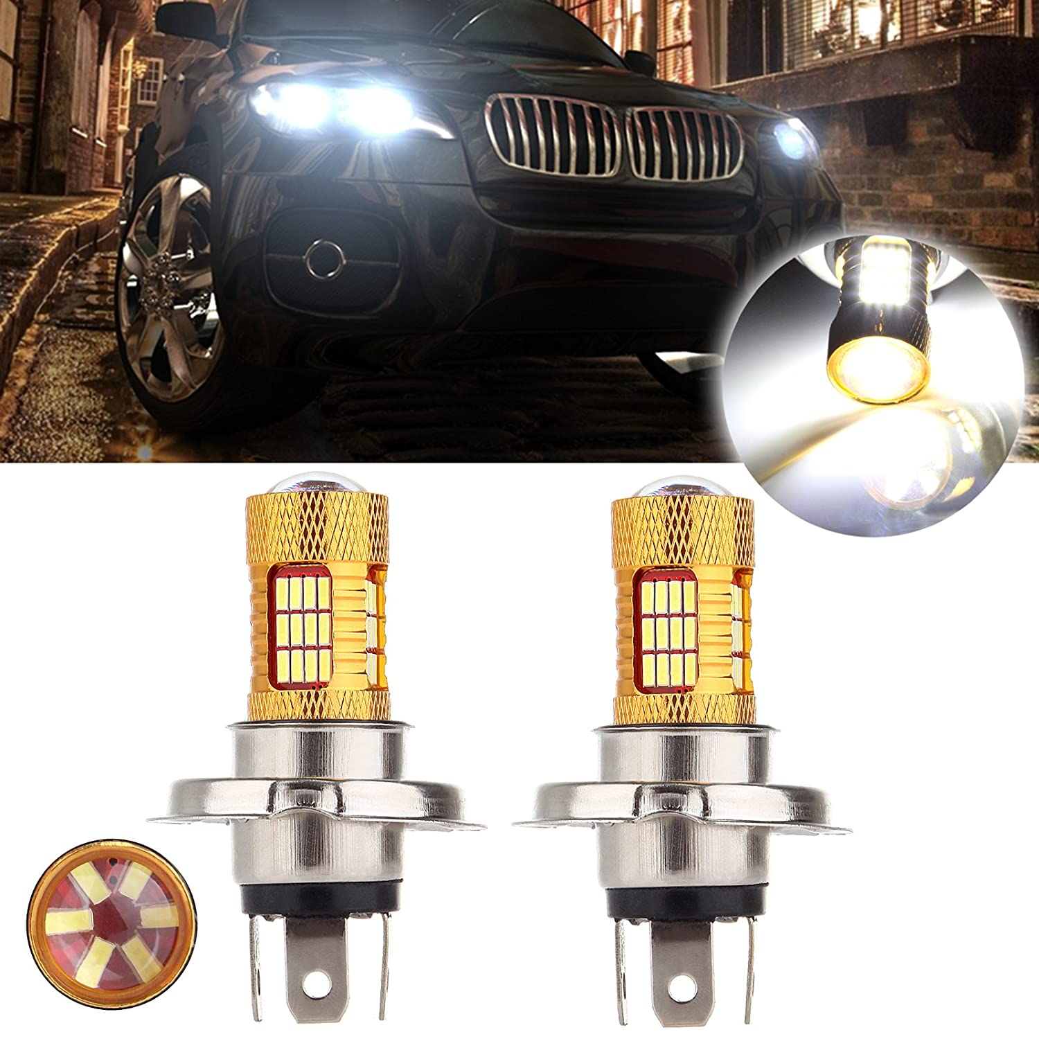 cciyu H4 Cree LED Light Bulb 9003 HB2 LED Bulb with Projector Replacement fit for Motorcycle Car Bike Fog Light Lamp,2 Pack Xenon White