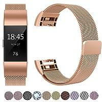 HUMENN Für Fitbit Charge 2 Armband, Charge 2 Luxus Milanese Edelstahl Handgelenk Ersatzband Armbänder mit Starkem Magnetverschluss für Fitbit Charge2 Klein Groß