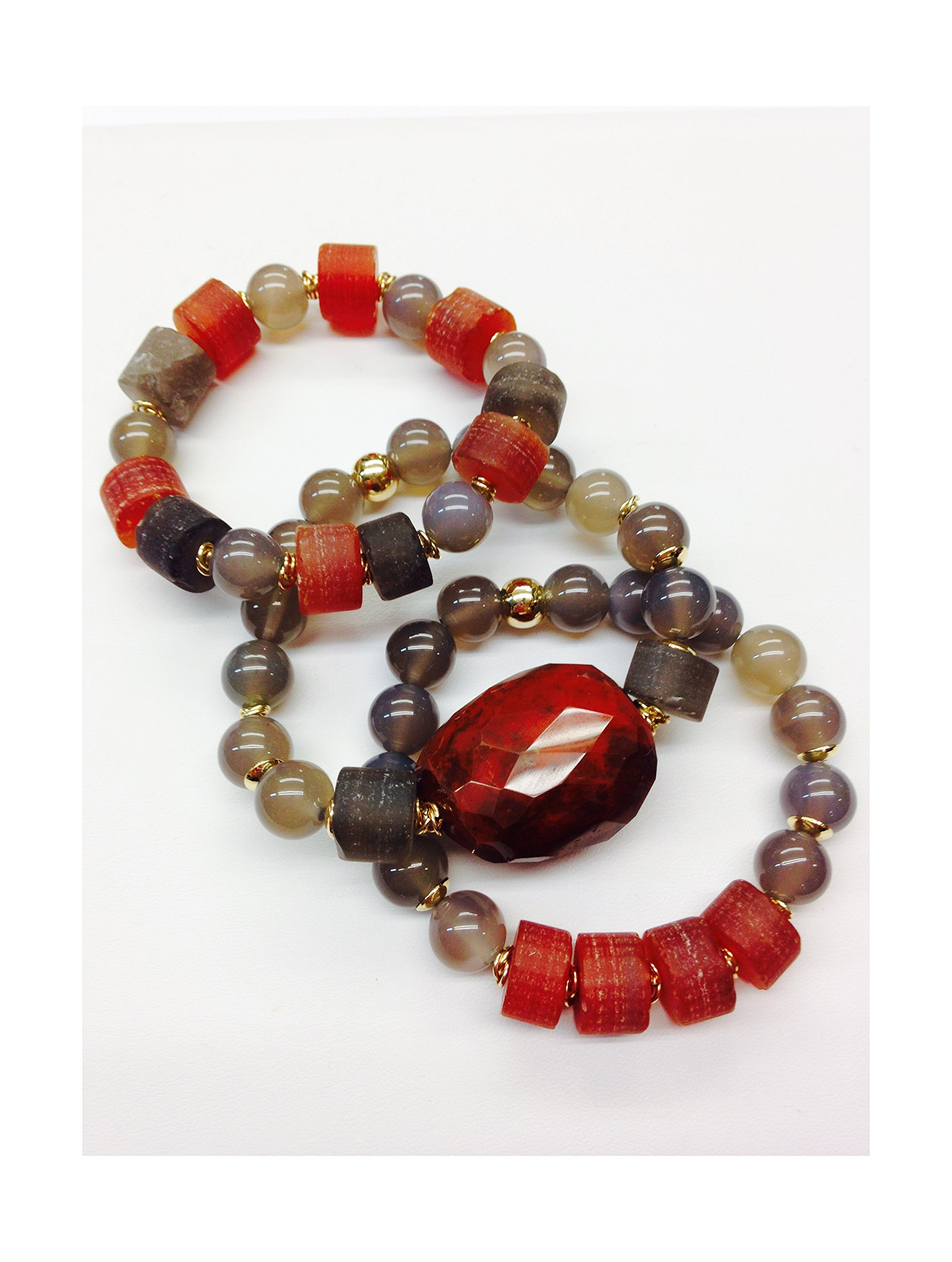 Set of 3 Handmade Bracelets - Grey Agate, Smoke Quartz, Exotic Rustic Agate & Terracotta Jasper Natural Stones & Goldfilled Beads by Formula Moda