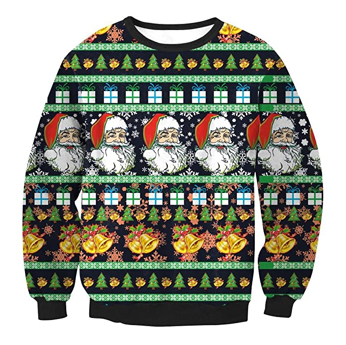 ac6a699fc592 Amazon.com  feifanmall Unisex Men Women Funny 3D Christmas Tree Santa Claus  Bell Snowfalke Gift Box Pattern Print Crewneck Sweatshirt Pullover  Clothing